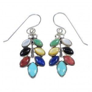 Multicolor Silver Southwest Hook Dangle Earrings YX71094