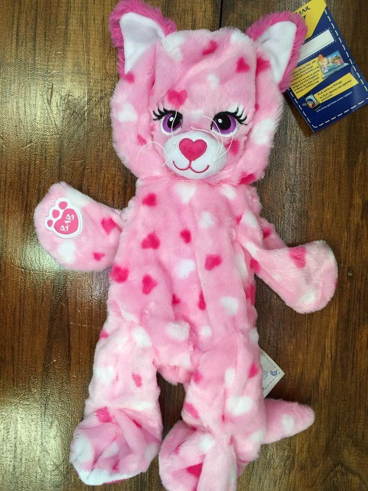 Build A Bear Huggable Hearts Kitty Unstuffed Pink Heart Plush