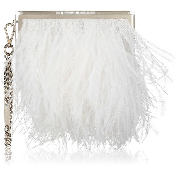 White Ostrich Feathers and Silver Metal Box Clutch Bag BOX found on Polyvore featuring bags, handbags, clutches, white handbags, jimmy choo, white purse, white box clutch i jimmy choo clutches