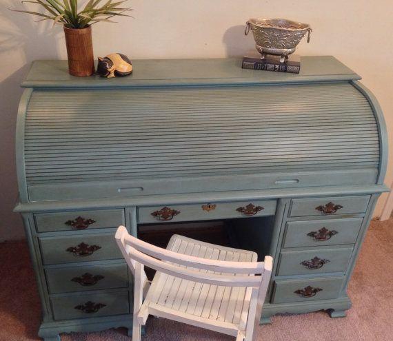 Roll Top Desk, Home Office Desk, Large Teal Desk - Vintage Roll Top Desk, Home Office Desk, Painted Roll Top Desk