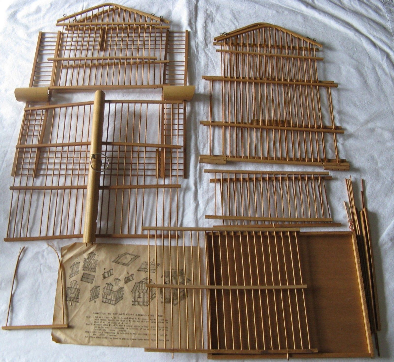 Details About Vintage Bamboo Bird Cage With 2 Vintage