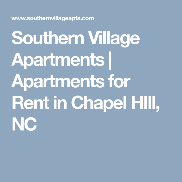 Apartments For Rent In Chapel Hill Nc: Southern Village Apartments
