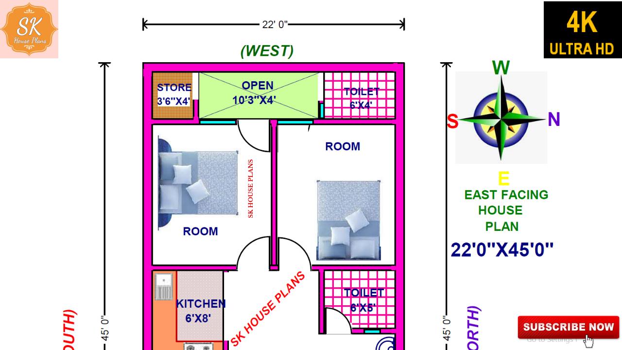 VASTU EAST FACING HOUSE PLAN 22 X 45 990 SQ FT 110 SQ YDS 92 SQ M 110 GAJ WITH INTERIOR