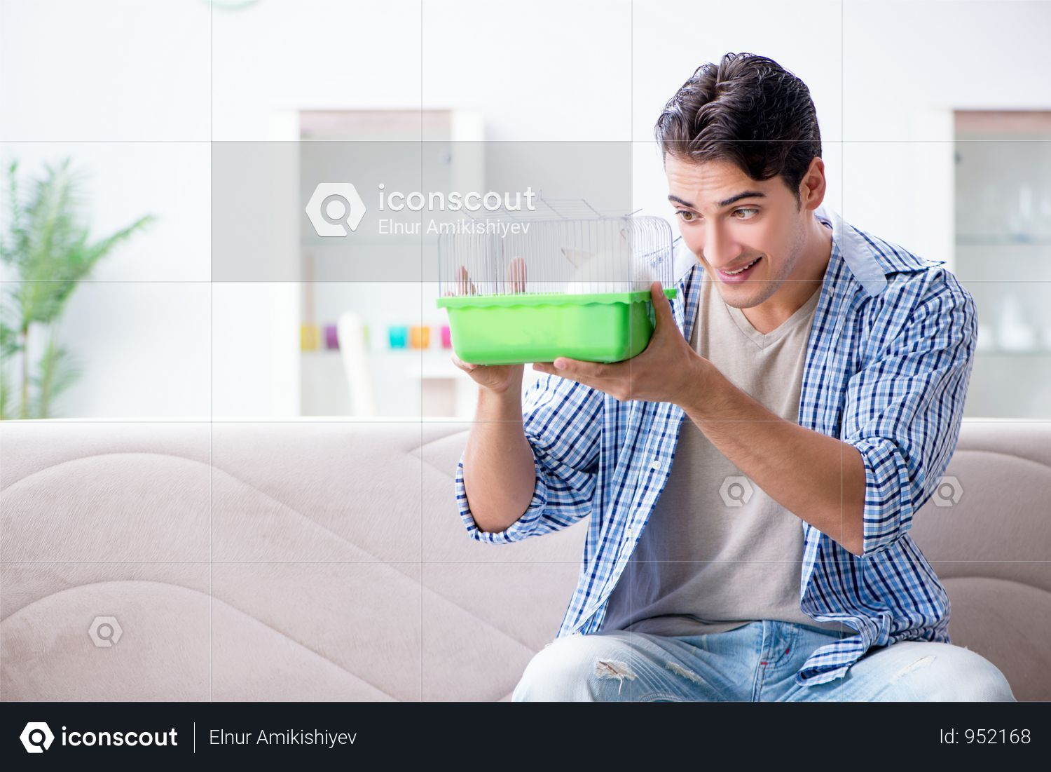 Young Man Playing With Pet Rabbit At Home Photo Pet