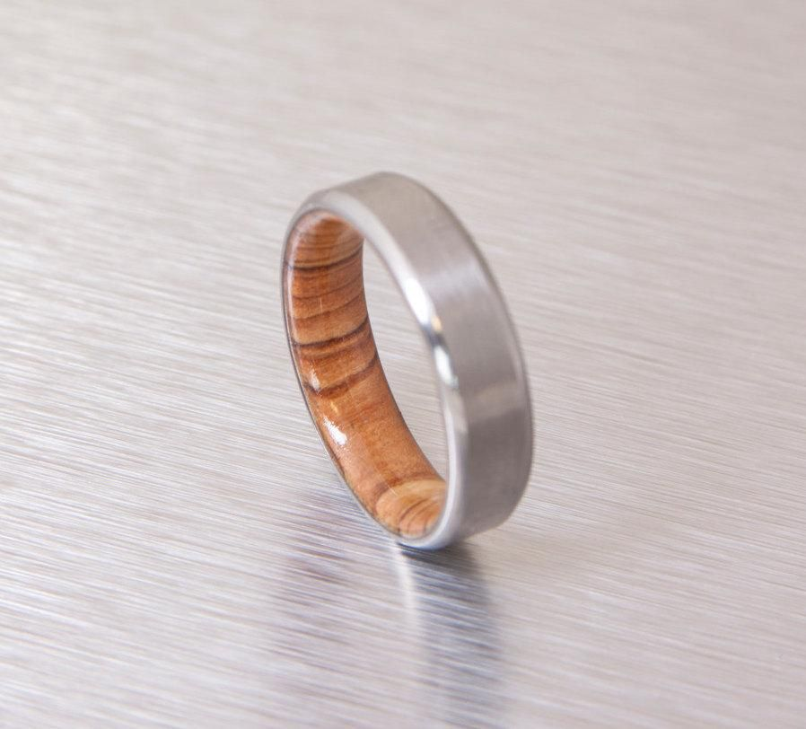 olive wood ring titanium band mens wedding wood ring Titanium and