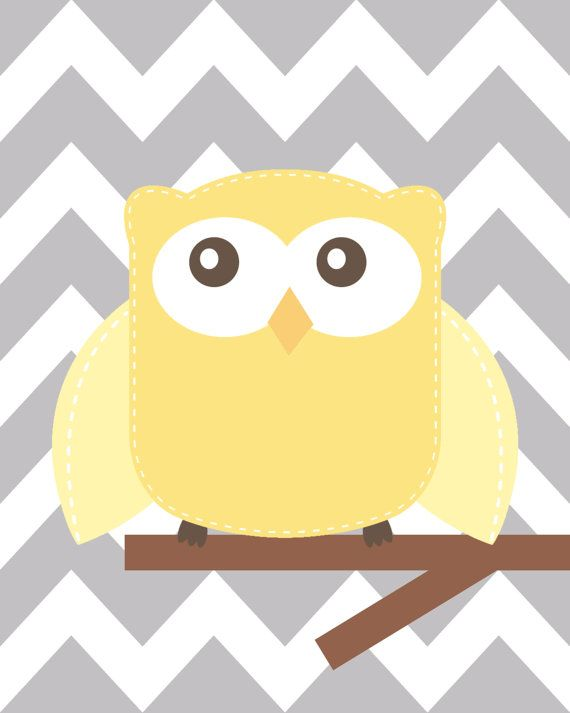Yellow and gray nursery Nursery Owl Art Grey and Yellow | sobica ...
