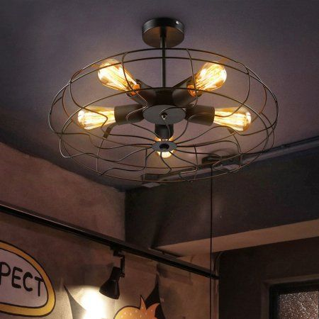 Industrial Vintage Metal Fan Shape Ceiling Light Unique Living