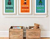 3 affiches superhéros avec citation humoristique pour décoration murale, chambre enfant ou salle de bain