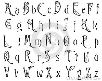 scrapbooking alphabet cobweb halloween design - Halloween Writing Font
