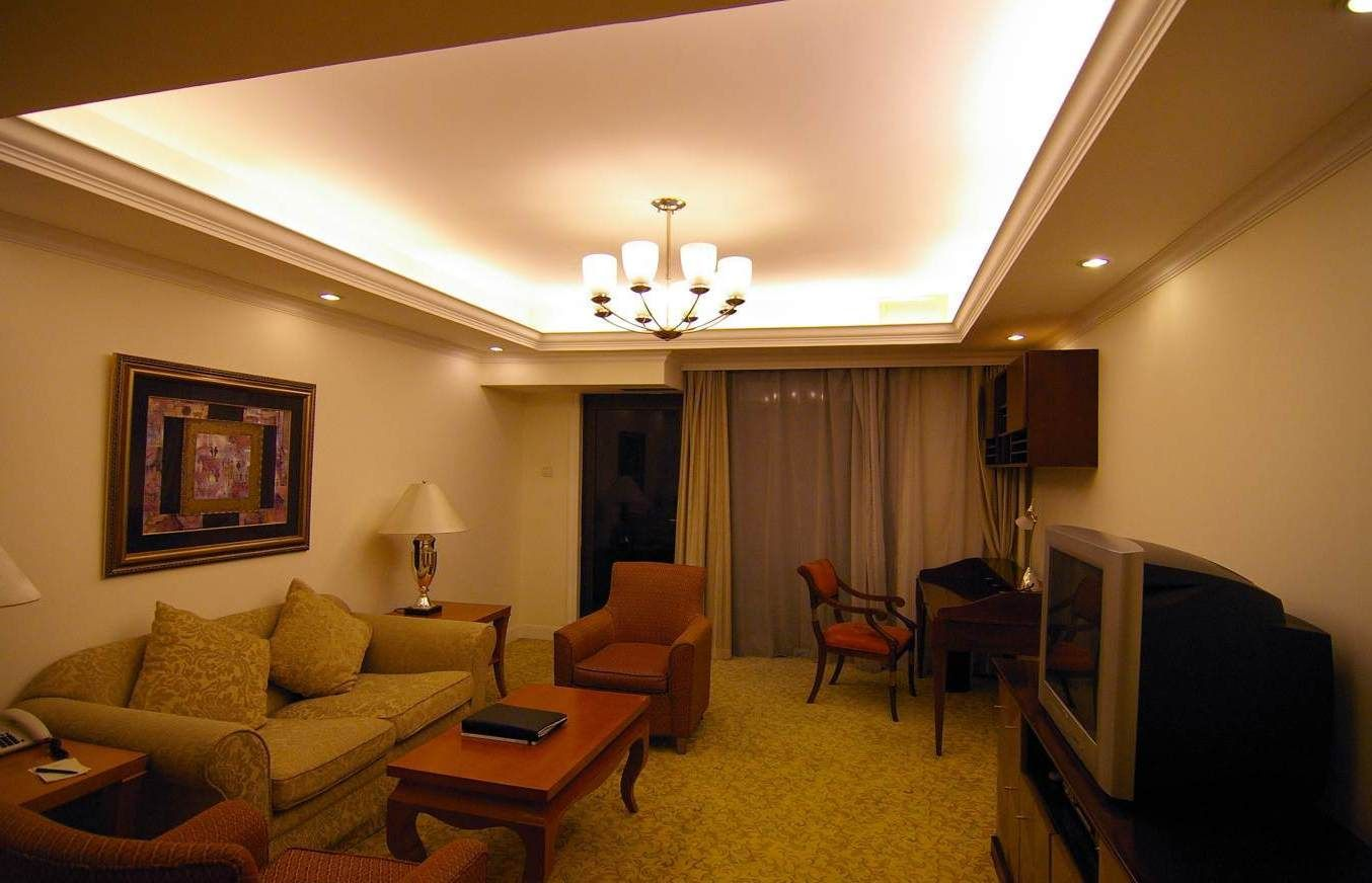 Cove ceiling lighting idea for simple living room design - Simple ceiling design for living room ...