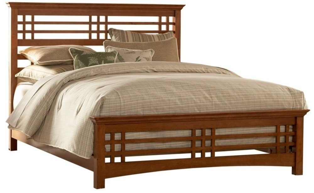 Queen Size Wooden Mission Style Slat Bed Headboard And Rails In Oak Finish Leggettplatt Traditional Mission