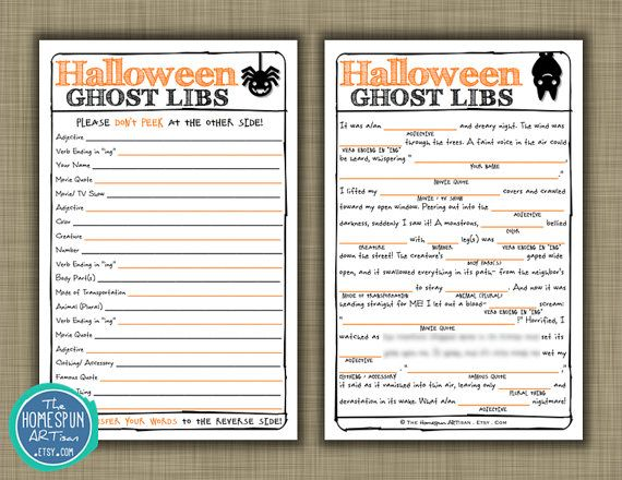 HALLOWEEN Mad Libs Harvest Party Game DIY by TheHomespunArtisan ...