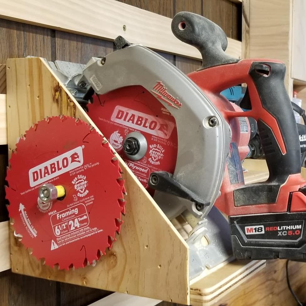 Cordless Circular Saw And Spare Blade Storage Circular Saw Blades Saw Blade Storage Garage Organization Tips