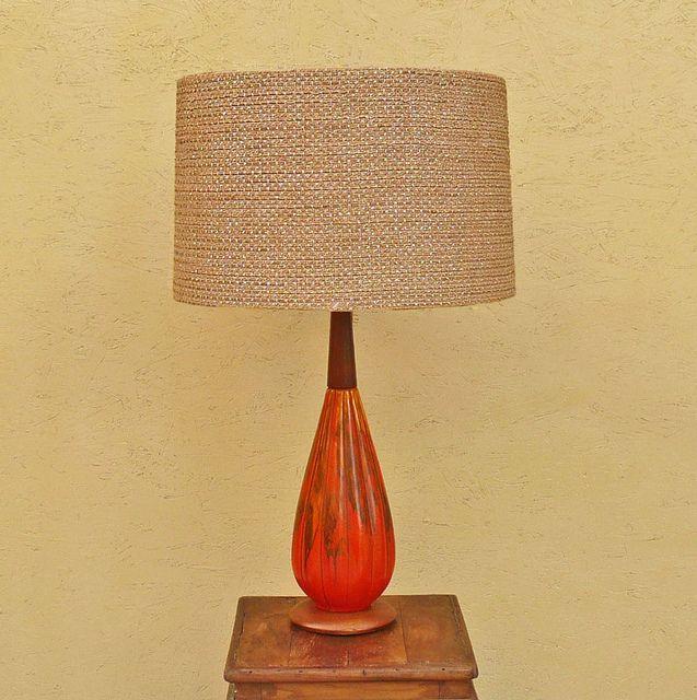 Vintage Orange Drip Glazed Ceramic Table Lamp Ceramic Table Lamps Retro Table Lamps Lamp