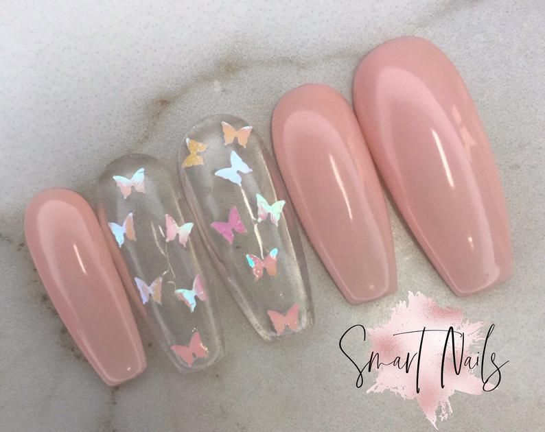 Press On Nails In French Butterly Nails False Nails Etsy In 2020 Stick On Nails Press On Nails Fall Acrylic Nails