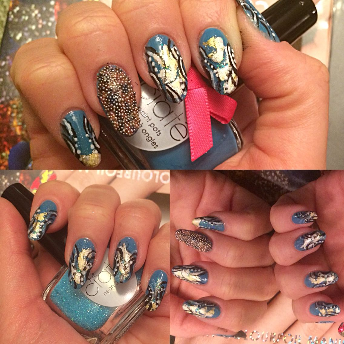 My new nail products;) gifts:) loved working with them (foil, neon ...