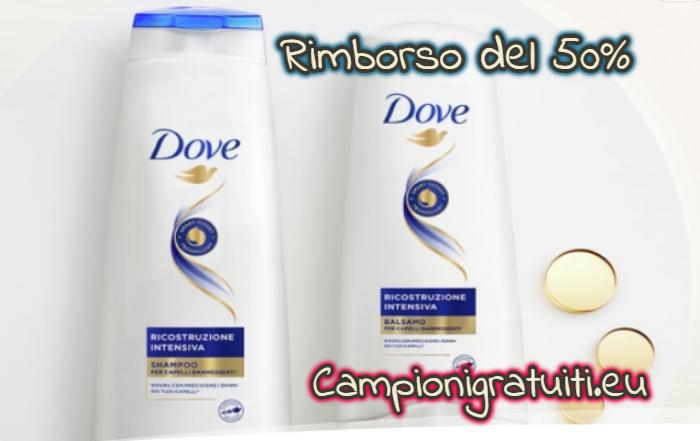 Rimborso del 50% Balsamo, Shampoo e Maschera Dove