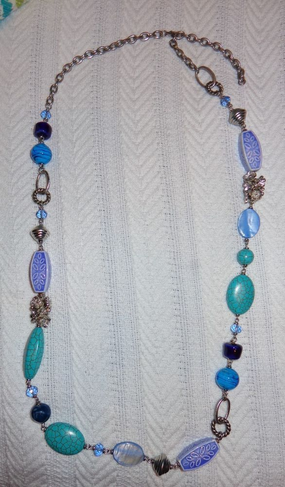 PREMIER DESIGNS BLUE LAGOON NECKLACE $41 MOTHER PEARL GLASS BEADS FAUX TURQUOISE