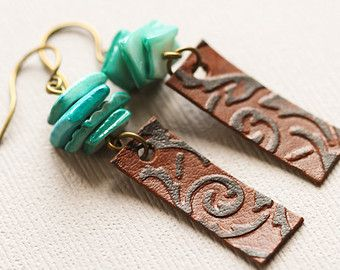 Heart Jewelry Components Hand Stamped Leather Cowgirl Jewelry Western Jewelry Leather Components Jewelry Supplies Boho Jewelry Gift Idea