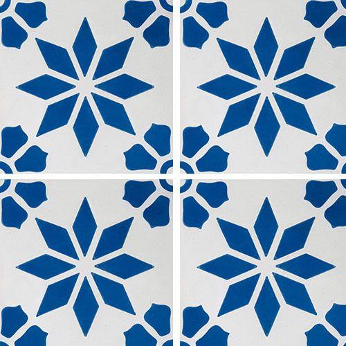 Carreaux De Ciment Decor Etoile Fleur Bleue 20x20 Cm Gris Rouge