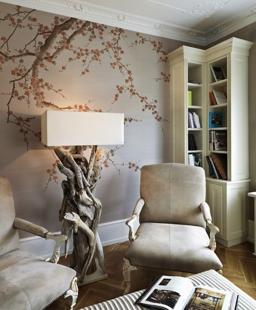 chinoiserie paper in subtle tones, unusual lamp (though I might try a different shade)