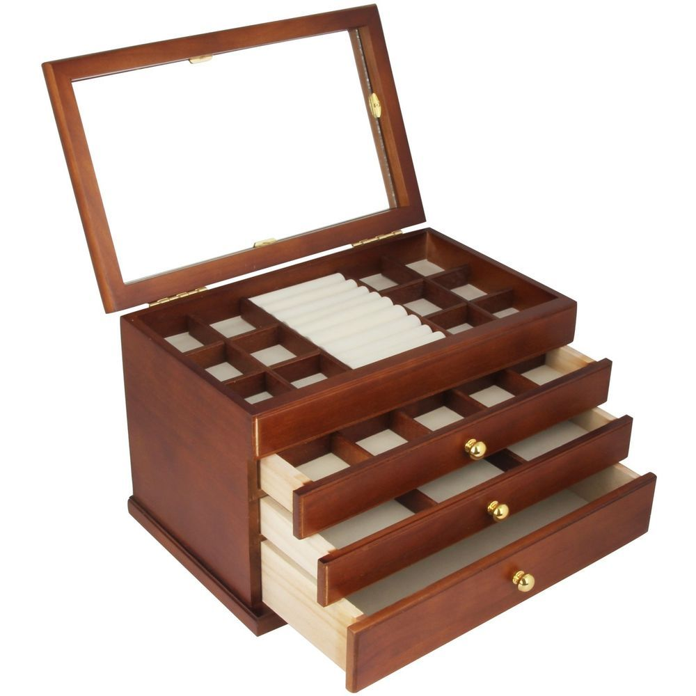 Real wood Wooden Jewelry Box Case SI1821B Boxes Organizers Watches