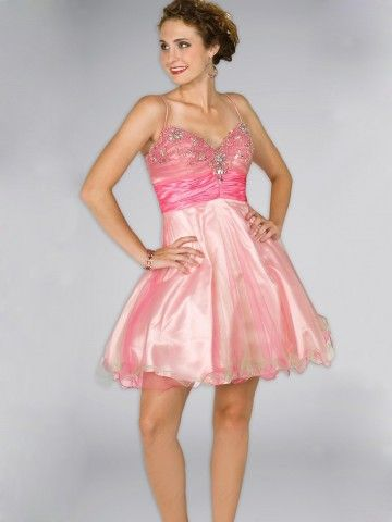 (HUNG016464 )2013 Spring Style A-line Spaghetti Straps Beading Sleeveless Short / Mini Organza Pink Cocktail Dress / Homecomi