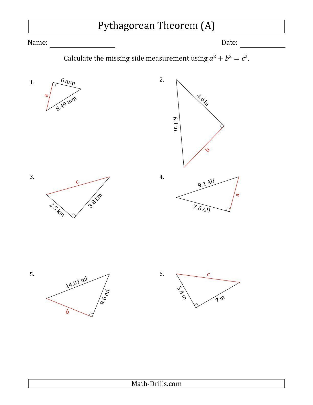 Pythagoras Theorem Worksheet With Answers The Calculate A