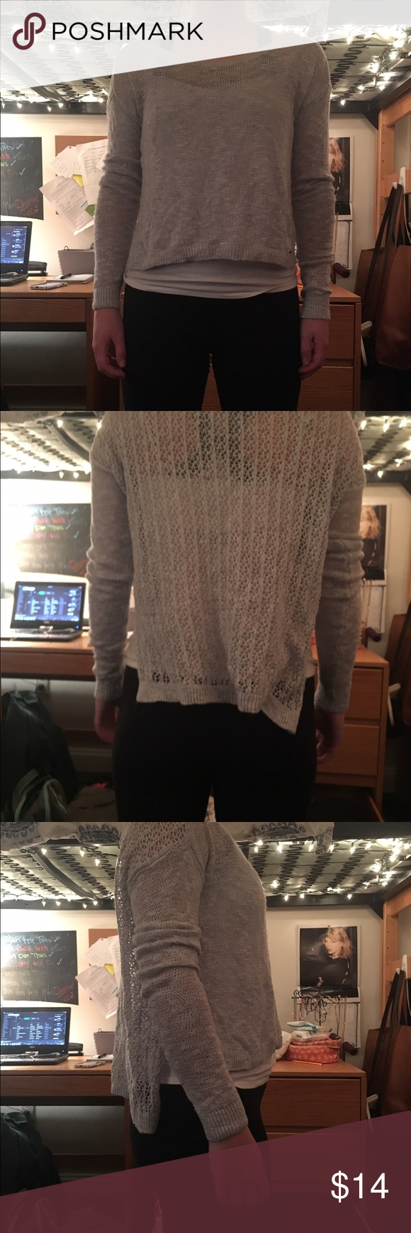 Abercrombie sweater Light and airy cropped Abercrombie grey sweater Abercrombie & Fitch Sweaters