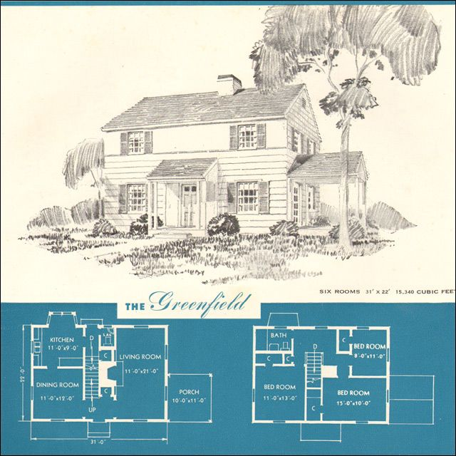 1945 Greenfield Classic Two Story Colonial New Era Houses Brown Blodgett Co Plan Book Colonial House Plans Vintage House Plans Plan Book