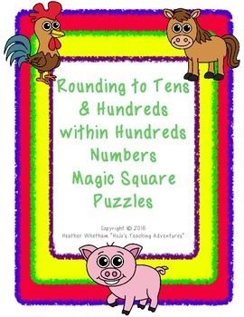 Rounding to 10s & 100s within Hundreds Numbers Magic Square Puzzles - $