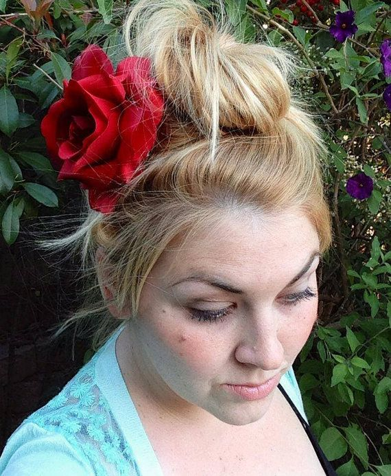 Large Pin Up Style Deep Red Rose Hair Clip by puffycheeksbowteek, $15.00