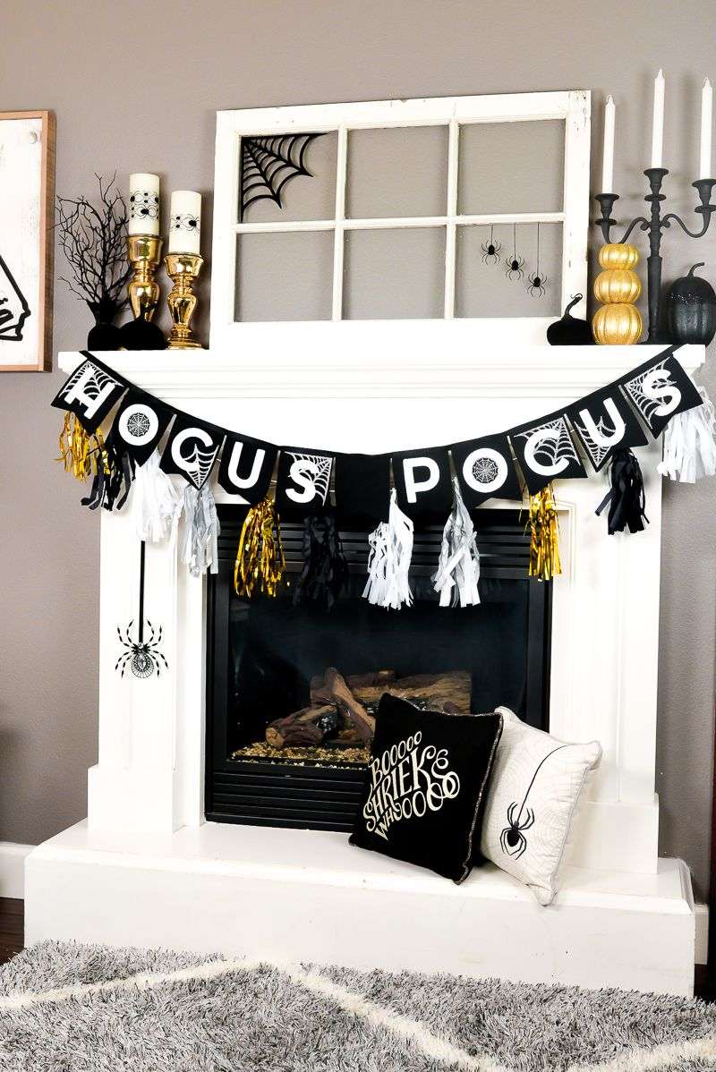 This year has been all about Glam Halloween! My Halloween mantel is - Scary Door Decorations For Halloween