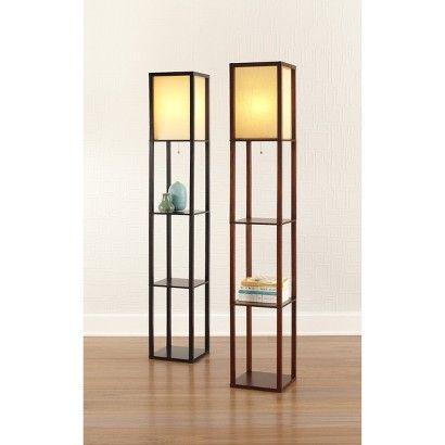 Threshold Floor Shelf Lamp With Ivory Shade Walnut Diy Floor Lamp Shelf Lamp Floor Lamp With Shelves