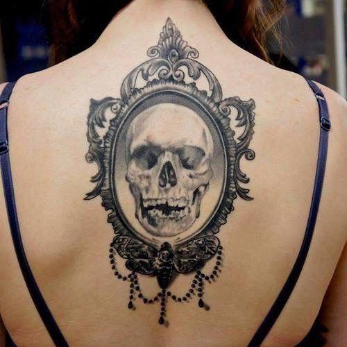 Skull In The Mirror Tattoo Mirror Tattoos Framed Tattoo Cameo Tattoo