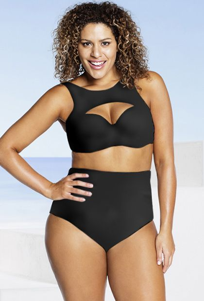 ac28d2b3b35 Robyn Lawley Black Moulded D DD Underwire Bikini