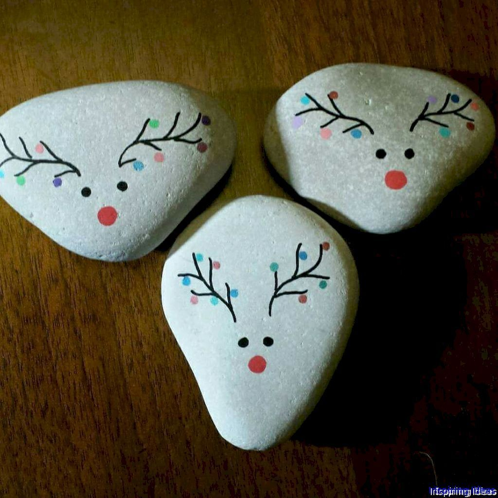 042 Cute Painted Rock Ideas for Garden Christmas rock