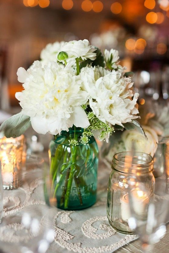 Flowers In The Blue Mason Jar Green Wedding Decorationscenterpieces