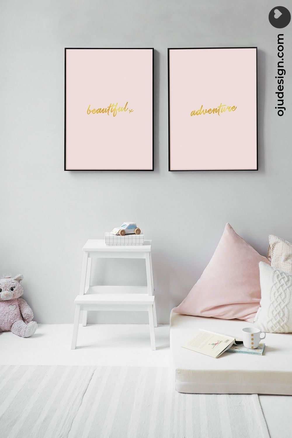 Pink And Gold Wall Art Set Pair Of