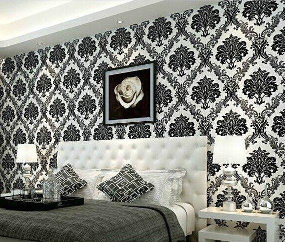 Best Modern Damask Black White Pattern Wallpaper Textured Embossed In 2020 White Pattern 400 x 300