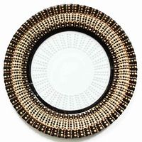 Wholesale New Design For Wedding Tableware Gold Silver Beaded Glass Charger  Plates