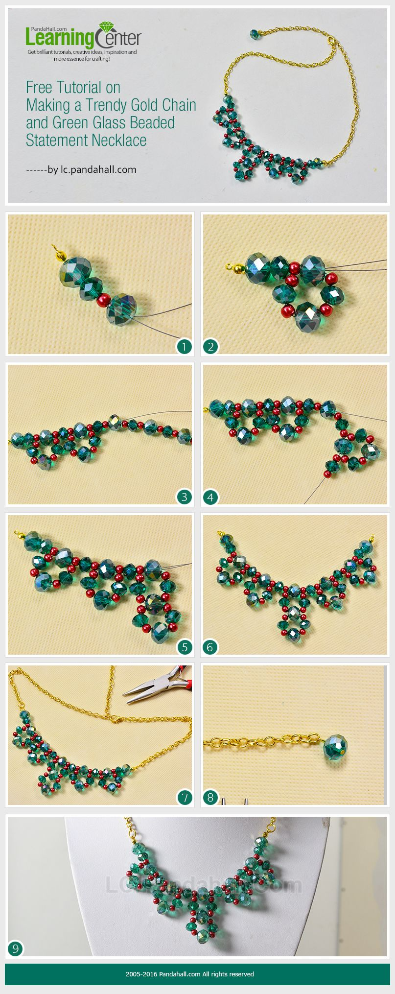 handmade glass beaded statement necklace diy jwewlry making tutorials techniques pinterest. Black Bedroom Furniture Sets. Home Design Ideas