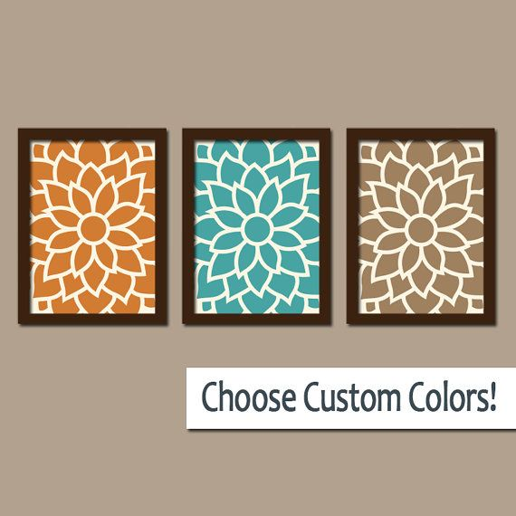 flower wall art flower outline art canvas or prints sepia orange rh pinterest ca Teal Painted Bathroom Designs Brown and Teal Living Room Sectional