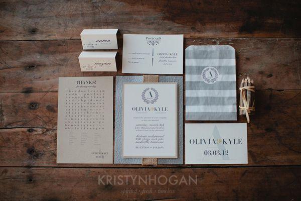 kraft paper and burlap invitation suite