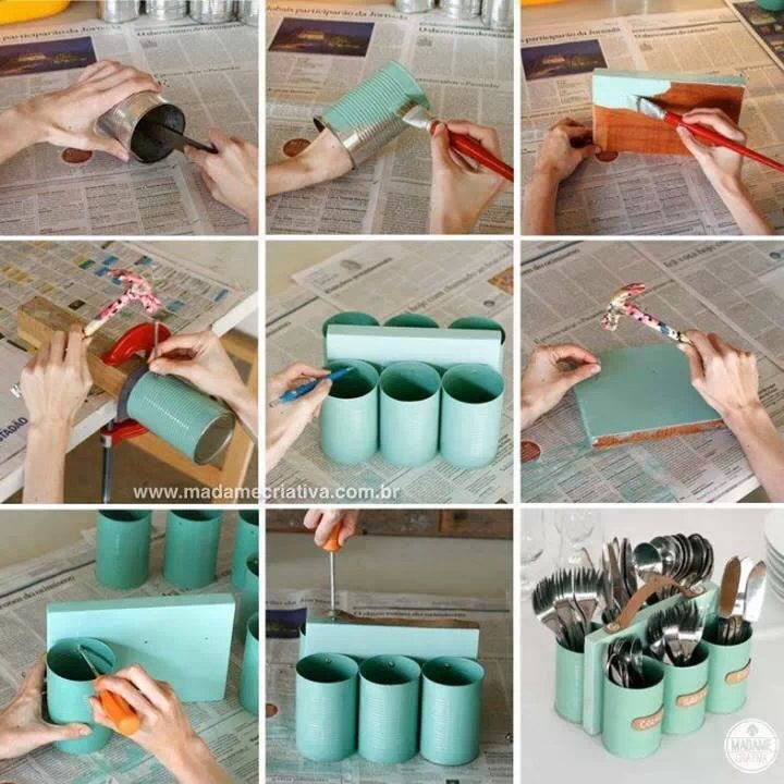 DIY cutlery holder using tin cans and some timber. Useful to avoid arguments on table setting!