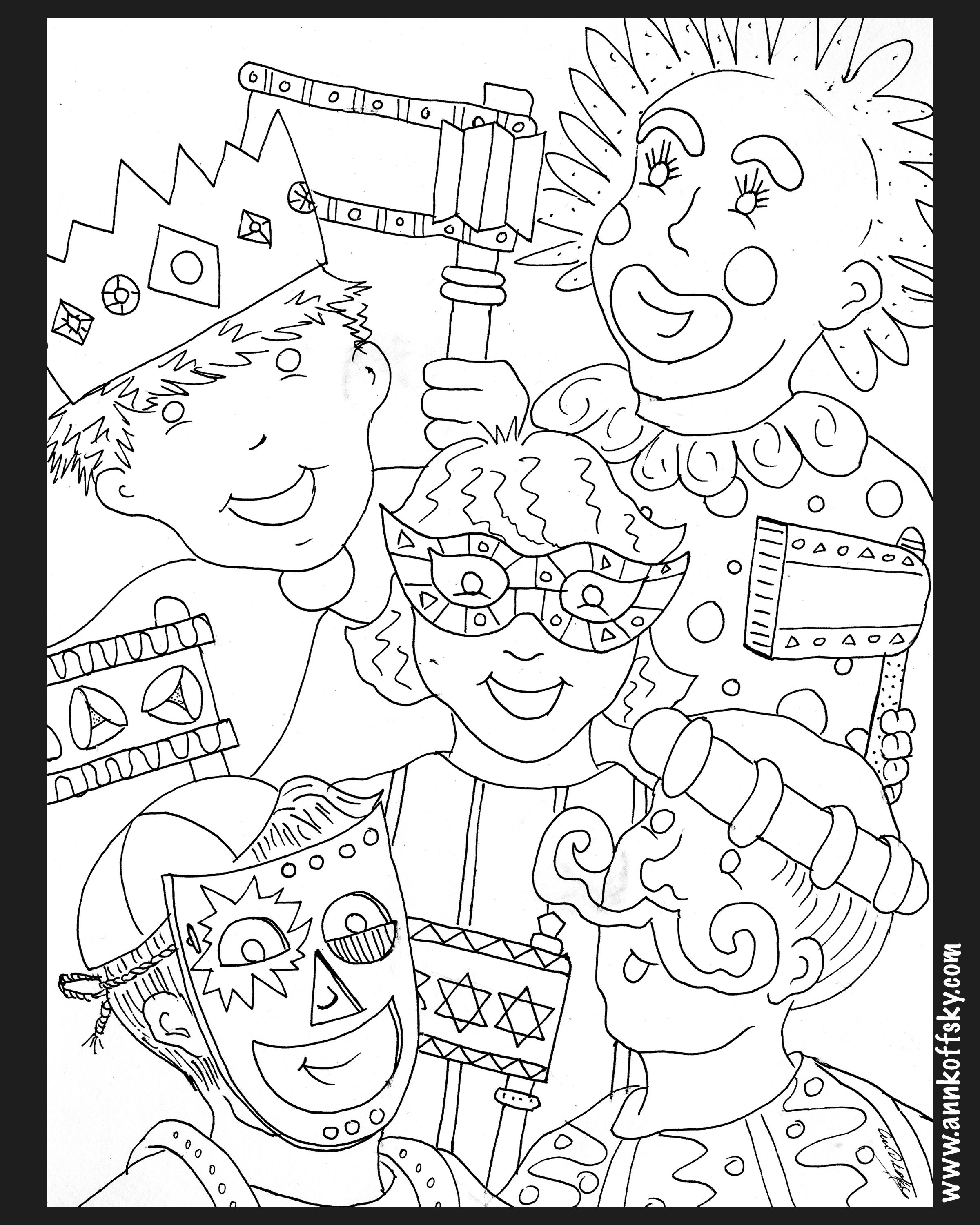 Purim Coloring Page Purim Crafts Purim