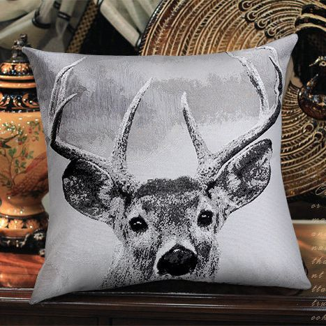 New Fashion High Quality Decorative Black White Linen Jacquard Cushion Covers Novelty Grey Deer Knitted Throw Pillow Cases