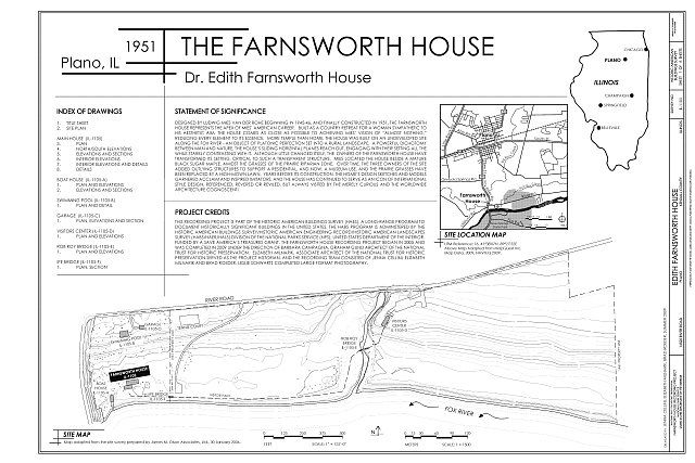 Cover Sheet  Site Map - Edith Farnsworth House, 14520 River Road