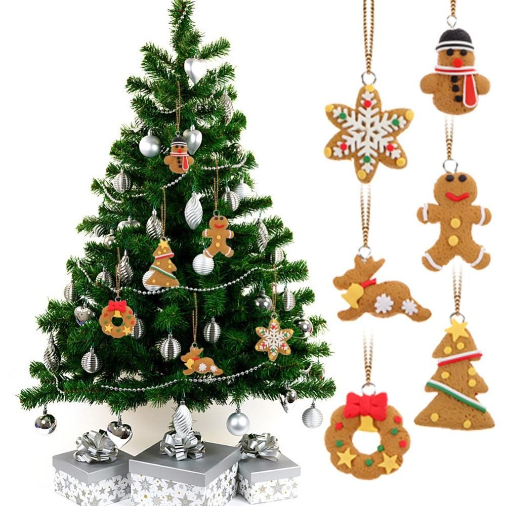 6 Piece Deer Snowman Tree Wreath Star Pendant Christmas Tree Ornaments Wooden Christmas Decorations Christmas Tree Ornaments Xmas Tree Ornament