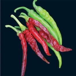 Cayenne Long Thin - Slender, long peppers turn bright-red and are very hot. The 2-feet tall plants are vigorous and productive. This heirloom has been popular many years for drying, using as a spice, and also using medicinally.